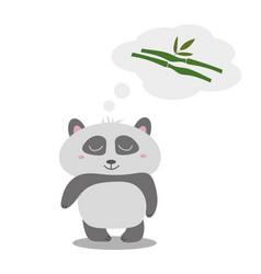 little cute panda thinks of eucalyptus the idea vector image