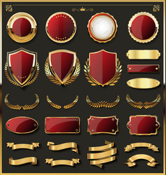 luxury gold and red design elements collection 02 vector image