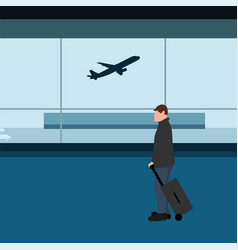 male tourist with a suitcase at airport vector image