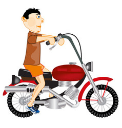 man on motorcycle vector image