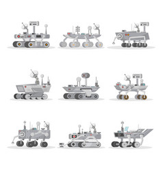 Mars rovers isolated icons set vector