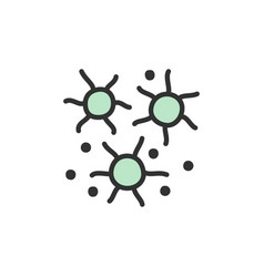microbes bacteria viruses flat color line vector image