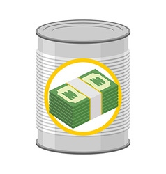 Money in a Tin Canned cash Dollars for hereafter vector image