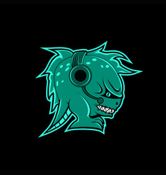 monster headphone gaming mascot vector image