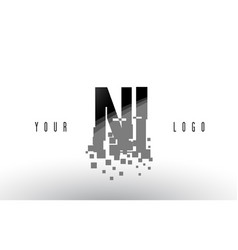 ni n i pixel letter logo with digital shattered vector image