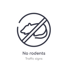 No rodents outline icon isolated line from vector