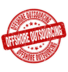 offshore outsourcing red grunge stamp vector image