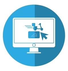 ordering food online computer shadow vector image