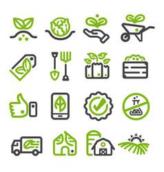 organic farmorganic vegetable line icon vector image