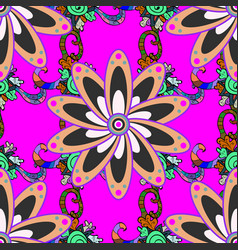 Outline flowers on colored background simple vector
