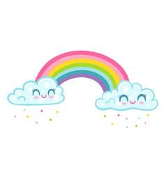 panda with unicorn horn on rainbow vector image