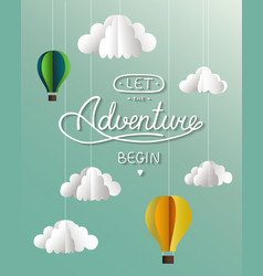 paper clouds and balloons card with hand drawn vector image