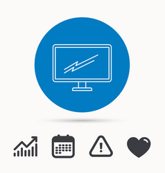 pc monitor icon led tv sign vector image