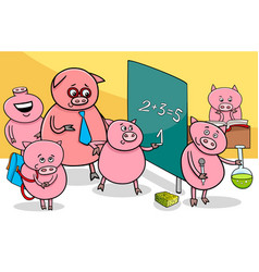 Piglet cartoon characters at school vector