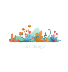 plant leaves and flowers abstract natural banner vector image