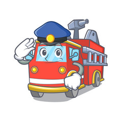 Police fire truck character cartoon vector