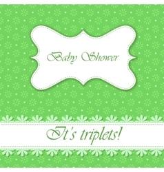 Polka dot flowers baby shower triplets vector