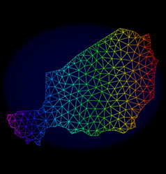 Polygonal wire frame spectrum mesh map of vector