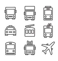 Public transport icons vector