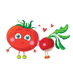 Radish in love with tomato characters vector image