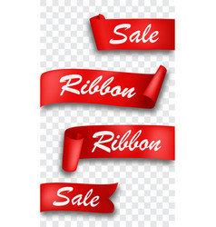 Red ribbon banner isolated on transparent vector