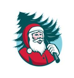 Santa Claus Carrying Christmas Tree Retro vector image