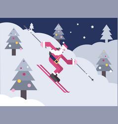 Santa skiing down a mountain slope vector