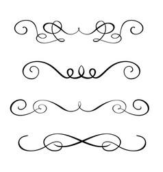 set hand drawn flourish calligraphy elements vector image vector image