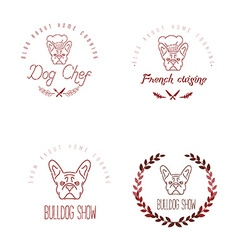 Set of logos with french bulldog and twigs vector