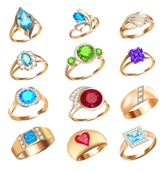set of rings with precious stones on a white backg vector image