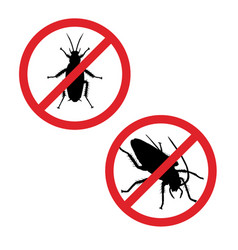 Silhouette of cockroach in prohibition sign icon vector