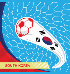 south korea waving flag and soccer ball in goal vector image