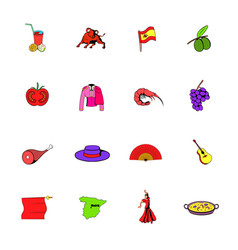 spain icons set cartoon vector image