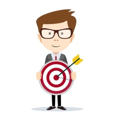 Successful businessman or teacher holding a target vector