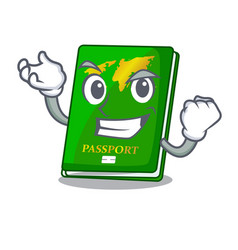 Successful green passport in the cartoon shape vector