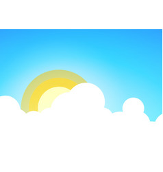 summer blue sky with sun and some clouds vector image