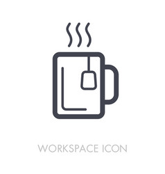 Tea cup outline icon workspace sign vector