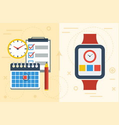 Time planning with app on smart watch and paper vector