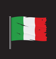 Torn italy flag on a metallic pole vector
