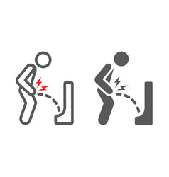 Urine pain line and glyph icon body and painful vector