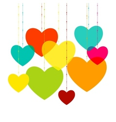 Various multicolored hearts Magenta Cyan yellow vector