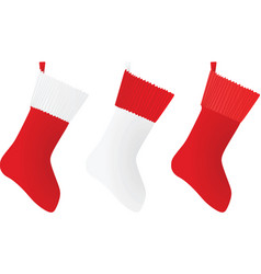 white and red christmas sock vector image vector image