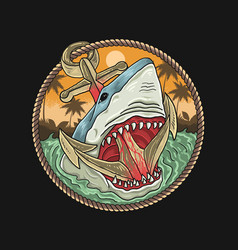 wild sharks and anchors in ocean vector image