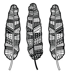 Aztec zentangle style feathers vector image vector image