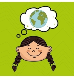 cartoon girl map global vector image