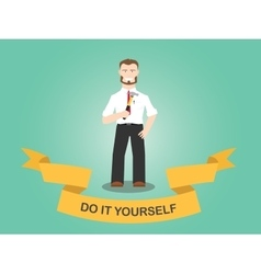 diy do it yourself men working use hammer house vector image vector image