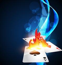 burning casino card vector image