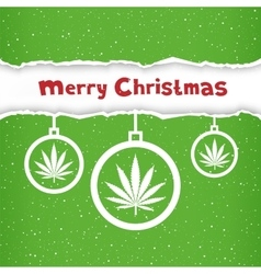 Christmas cannabis hemp congratulation vector image vector image