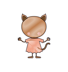 Color crayon silhouette caricature faceless of cat vector