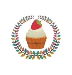 crown of leaves with cupcake with cream and vector image